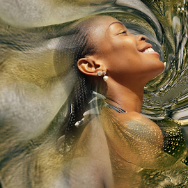 LINDA 2 by Carmen Velcic - Digital Art People ( abstract, face, girl, woman, gold, beauty, digital )