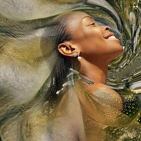 LINDA 2 by Carmen Velcic - Digital Art People ( abstract, face, girl, woman, digital art, beauty, gold, digital )