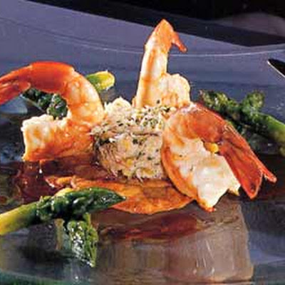 Potato Galettes with Crab, Shrimp, and Asparagus