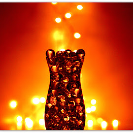Amber with Stars  by Wendy Thorson - Artistic Objects Glass