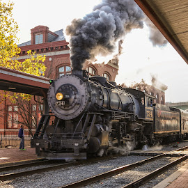 Cumberland Steam Engine by Sharon Horn - Transportation Trains ( cumberland, railroad station, railroad tracks, steam engine steam train, railroad, maryland, train )