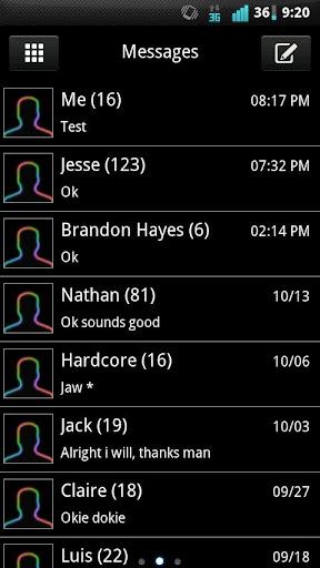 GO SMS Rainbow Glow Theme