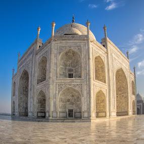 Taj Mahal, Wide Angle View by Martin Belan - Buildings & Architecture Public & Historical ( fisheye taj mahal, wide angle, taj mahal, agra, india,  )