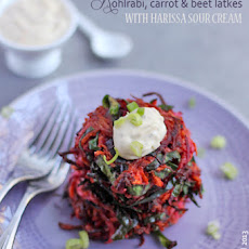 Confetti Latkes with Harissa Sour Cream