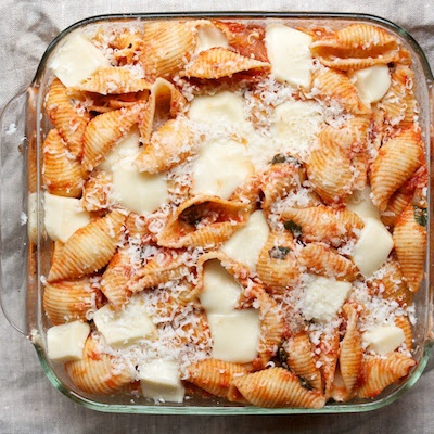 Baked Shells with Tomato and Mozzarella