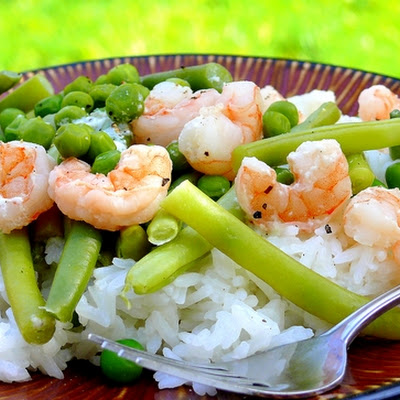 Shrimp over Coconut Rice