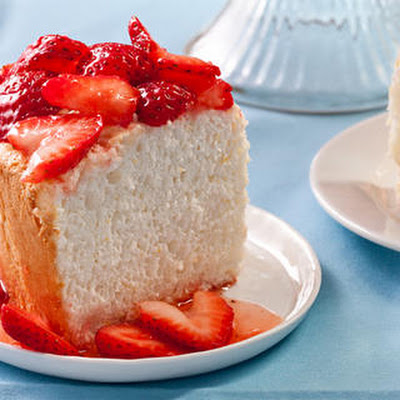 Orange Angel Food Cake with Strawberries