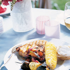 Grilled Swordfish with Nectarine-Onion Salsa