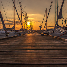 Cozy harbor by Julija Moroza Broberg - Landscapes Sunsets & Sunrises ( skyline, harbor, harbour, yacht, way, dragör, low light, shine, jetty, yellow, coast, sun, light art, sky, sailing, path, pier, light, formation, water, pathway, boats, sea, bay bridge, rays, shadows, wooden, sailboats, bay, sunset, cloud, denmark, bridge, yacht club )