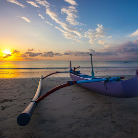 On the hard by Mike O'Connor - Landscapes Beaches ( bali, sunset, fish, canoe, outrigger, beach, boat,  )