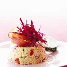 Vegetable Couscous, Goat Cheese, and Beets