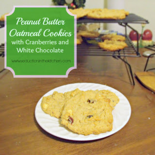 Peanut Butter Oatmeal Cookies With Cranberries and White Chocolate