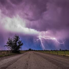 by Jace LeRoy - Landscapes Weather ( lightning, weather, road, landscape, storm )