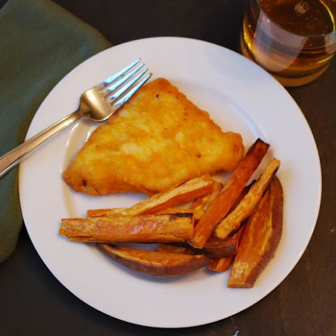 Beer Battered Cod with Sweet Potato Chips