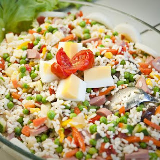 Colorful Rice Salad with Ham and Hard Cooked Eggs