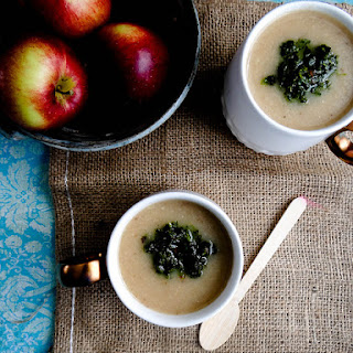 Creamy Celeriac & Apple Soup ~ Spicy Winter Greens