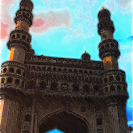 Hyderabad Char Minar by Amit Kumar - Painting All Painting ( hyderabad, india, andhra pradesh )