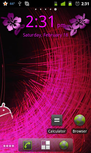 Pink Flowers Digital Clock