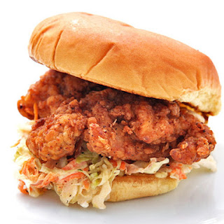 Fried Chicken and Cole Slaw Sandwiches