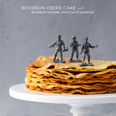 Bourbon Crepe Cake with Bourbon Caramel Chocolate Ganache