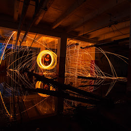 Glensdale Steel Wool Center by Pete Daley - Abstract Fire & Fireworks ( light painting, night photography, steelwool, night, self portrait, long exposure, nightscape )