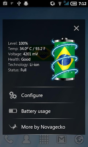 Brazil: Flag Battery Widget