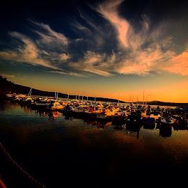Sunset on cda lake by Joe Thola - Transportation Boats ( #cda #cdalake #sunset #boats )