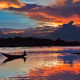 Color of sky at dusk by Shubhabrata Biswas - Landscapes Sunsets & Sunrises ( sky, boat, landscape, dusk, river,  )