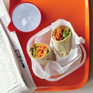Spicy Peanut, Carrot, and Snap Pea Wraps