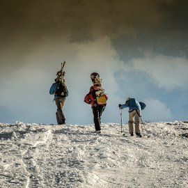 To the top by Grigore Roibu - Sports & Fitness Snow Sports ( ski, climbing, extreme, winter, sunset, white, siluet, sport, mountain top, people, ascent )