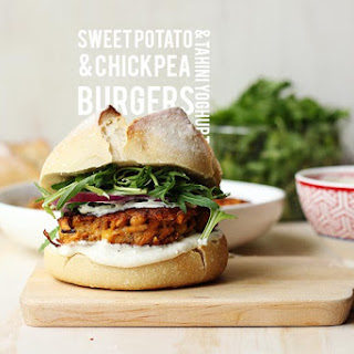 Sweet Potato & Chickpea Burgers with Tahini Yoghurt // I Ate That