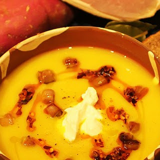 Celeriac And Sweet Potato Soup With Bacon.