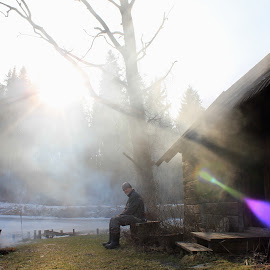 Smoke Sauna Man by Maria Barbara - Novices Only Portraits & People ( countryside, smoke sauna )