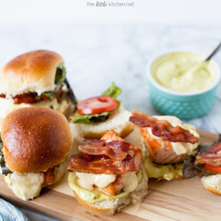 Salmon BLT Sliders with an Avocado Aioli & Brie
