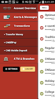 Screenshot of CNB Mobile Online Banking
