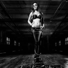 Black Liquid by Robert Jr Choquette - People Fashion ( urban, sexy, urbex, industrial, dress, dark, moody, bra, fabric, black )