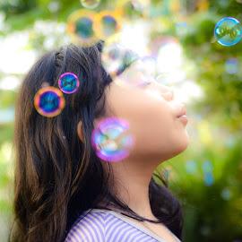Bubble by Papin Michael - Babies & Children Children Candids ( child, girl, bubbles, evening )