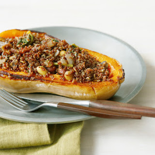 Butternut Squash Stuffed with Mushrooms, Quinoa, Spinach and Almonds