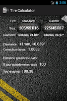 Screenshot of Tire calculator