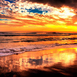 Newport Beach Sunset 5 by Luke McDannel - Landscapes Sunsets & Sunrises ( sunset, newport beach, beach )