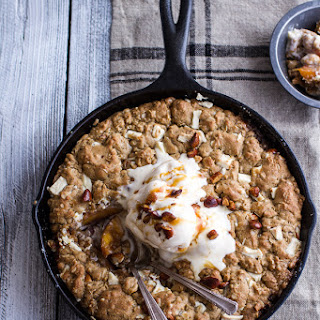 Caramelized Peach and Whole Wheat White Chocolate Oatmeal Skillet Cookie Pie.