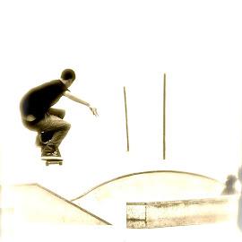 santa monica skater  by Michael Graham - Sports & Fitness Skateboarding