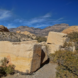 Surrounded by Rock by Luanne Bullard Everden - Nature Up Close Rock & Stone ( clouds, desert, sky, nature, stone, canyons, rocks,  )