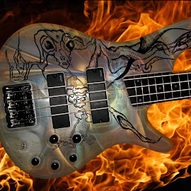bass by Dietmar Kuhn - Artistic Objects Musical Instruments ( bass, illustration, decal, guitar, fire )