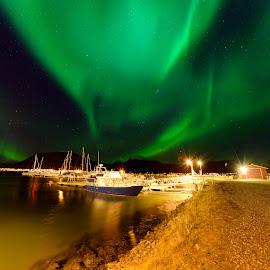 Boats and northern llights by Marius Birkeland - Transportation Boats ( northern lights, aurora borealis, aurora, boats, boat )