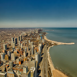 Chicago lakefront skyline by Izzy Kapetanovic - City,  Street & Park  Skylines ( chicago )