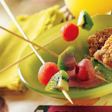 Watermelon-and-Kiwi Skewers with Starry Strawberry Cream