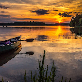 Kayaking at Sunset by Naresh Balaguru - Landscapes Sunsets & Sunrises ( sunset, kayak, , water, device, transportation )