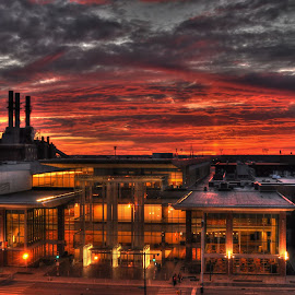Indianapolis Convention Center by Geoffrey Chen - City,  Street & Park  Skylines ( clouds, color, sunset, indianapolis, street,  )