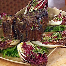 Grilled Big Porterhouse Tuscan-Style with Herbed-Garlic Olive Oil